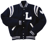 Wool sleeve varsity letterman jacket with color insert
